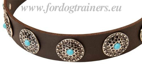 Studded Leather Dog Collars with Blue Stones