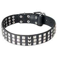 Dog Leather Collar with Chromed Pyramids