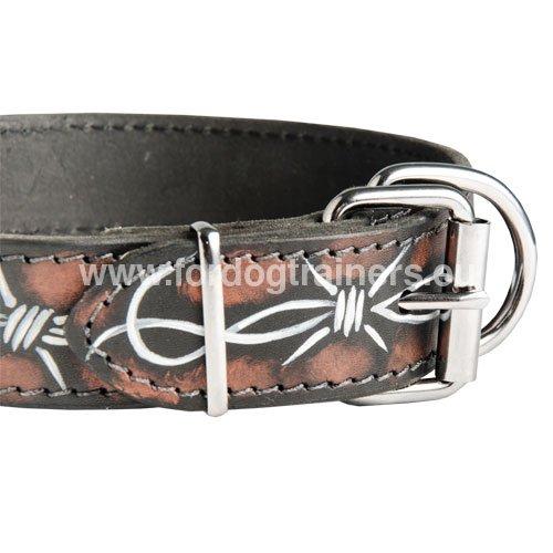 Collier Fait Main Fil De Fer : Boxer collier cuir peint avec dessin fil de fer barbel?