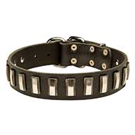 Dog Collar Genuine Leather and Metal Plates