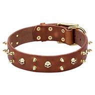 Dog Collar Full Grain Leather with Sophisticated Design