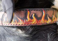Flames Hand painted leather dog collar for Rottweiler