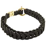 Braided Leather Dog Buckle Collar for Amstaff