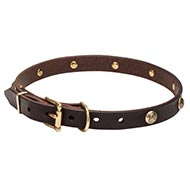 Leather Dog Collar with Hand-set Hardware and Studs