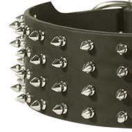 Spiked Leather Dog Collar Extra Wide