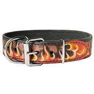 "Leather Dog Collar Design with Image ""Flame"""