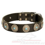 Leather Dog Collar with Embossed Plates with Blue Stones