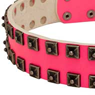 Super Pink Leather Collar with Square Plates▚