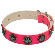 Pink Leather collar SUPER BLUE STONES