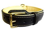 Nappa Padded Leather Dog Collar for Rottweiler