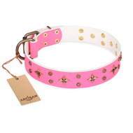 "Pink Leather Bright Collar ""Chi-Chi Pink Rose"" FDT Artisan"