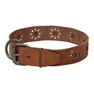 Leather Dog Collar with Flowers and Studs ⚪