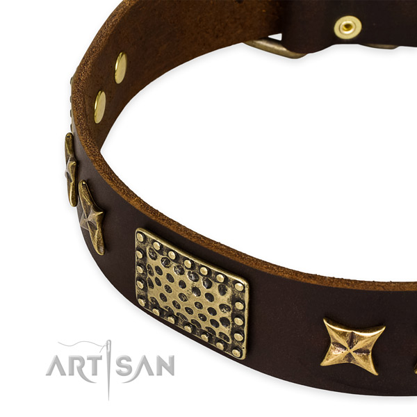 Genuine Leather Dog Collar Wide