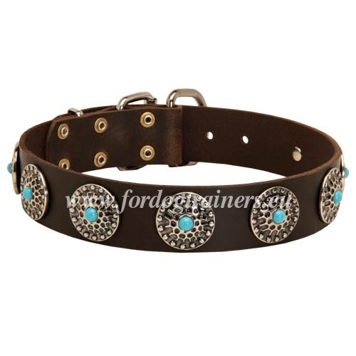 Hardware Solid of the Leather Collar with Blue Stones