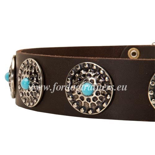 Large Dog Collar with Handset Decoration