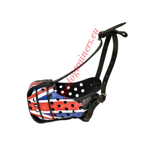 Leather Dog Muzzle with British Flag