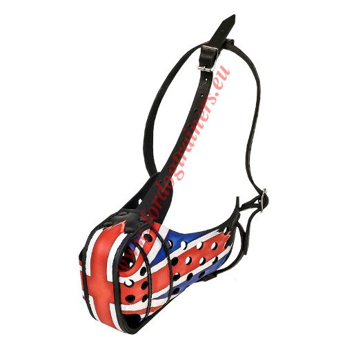 Well-ventilated Dog Muzzle with British Flag