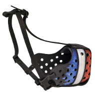 Exclusive Leather Dog Muzzle with French Flag✮