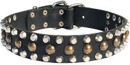 3 Rows Leather Dog Collar with Pyramids and Studs for Boxer