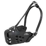 Closed Working Leather Dog Muzzle for Attack