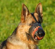 GSD Deluxe Art Leather Dog Muzzle Flame ☀