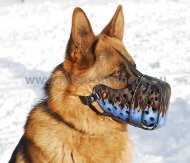 German Shepherd Hand Painted Leather Dog Muzzle Flame