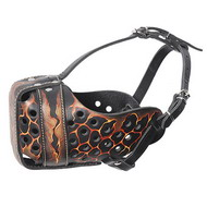 Painted Leather Dog Muzzle ''Volcano''