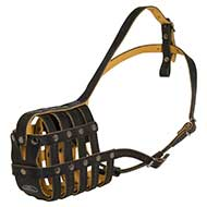 Dog Muzzle Genuine Leather with Super Ventilation and Padding