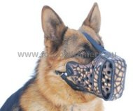 "German Shepherd Hand Painted Leather Dog Muzzle ""Croco"""
