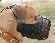 "Bullmastiff Leather Dog Muzzle ""Dondi plus"" 