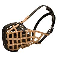Leather Basket Dog Muzzle for Attack