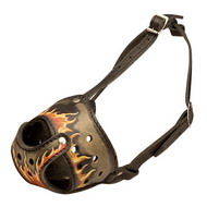 Painted Leather Dog Muzzle ''Flame''