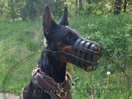 Soft Ventilated Leather Muzzle for Doberman