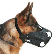 German Shepherd leather working muzzle, optimum ventilation