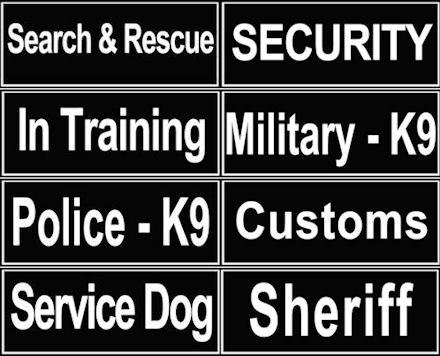 Verschiedene Logos für Hundegeschirr
