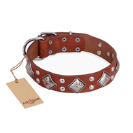"Leather Studded Dog Collar Tan ""Magic Squares"" FDT Artisan"