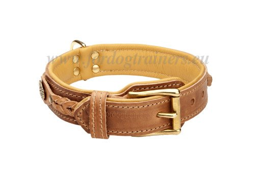 Dog Braided Collar Tan Leather