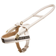 White Leather Harness Reliable for Assistance Dog☀