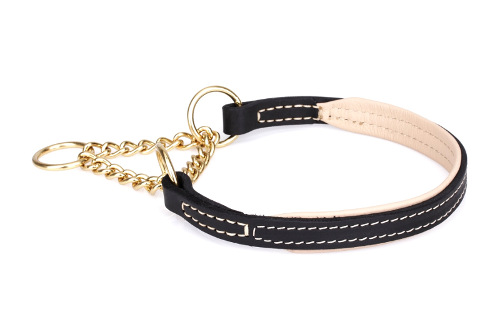 Half Check Collar for Dogs with Gold-looking Chain