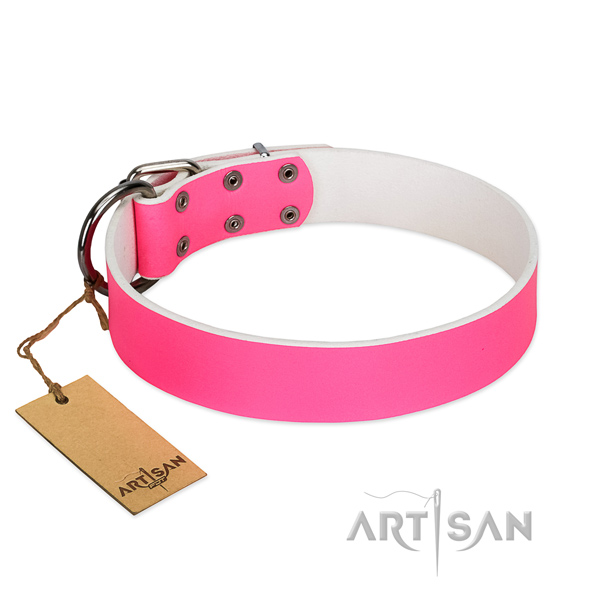 Leather Collar Classic Pink for Dog